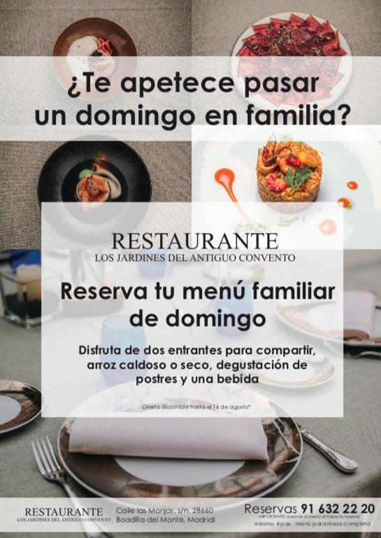 Restaurante con terraza en Boadilla del Monte en Los jardines de El Antiguo Convento. Menú familiar de domingo.